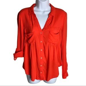 Anthropologie Maeve Red/Orange Button Down Shirt S